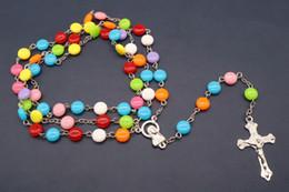 New Catholic 8 mm Colors Plastic Collana con rosario glamour. Preghiera cattolica perline lunghe catene all'ingrosso e al dettaglio da il rosario di plastica borda all'ingrosso fornitori