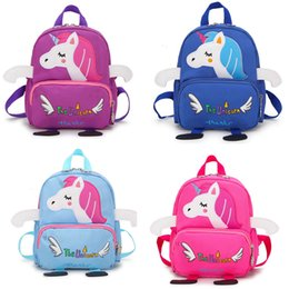 kindergarten cartera  Rebajas Kids Casual Unicorn Schoolbag 6 Design Multi-function Letter Impreso Cartoon Zipper Schoolbag Cartoon Anti-lost Kindergarten Shoulders Bag