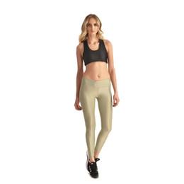 JIGERJOGER Desert Tan Amarillo Brillante Aspecto mojado Estiramiento Legging Mujeres Metálico Pantalón integral Longitud de talle alto Super Plus tamaño XXXXL # 315698 desde fabricantes