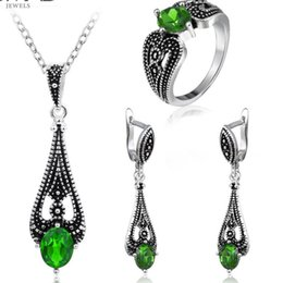 Серьги старые онлайн-designer jewelry crystal jewelry sets old silver plated green crystal setting earrings necklaces rings for women hot fashion
