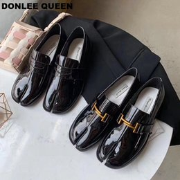 klobige fersenmüßige Rabatt Mode Split Toe Wohnungen Schuhe Frauen Beleg Auf Beiläufigen Müßiggängern Chunky Heels Britischen Oxford Schuhe 2019 Herbst Schuhe zapatos mujer