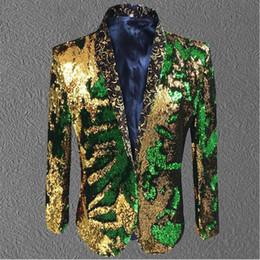 мужской золотой зеленый пиджак блесток пальто блейзер костюм выпускного вечера свадебный жених мода наряд фиолетовый певец хозяин сценическое одежда формальное шоу supplier stage clothing gold от Поставщики сценическая одежда золото