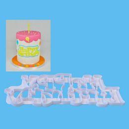 Argentina Feliz cumpleaños Letras Modelado Fondant Molde Herramienta de la torta de la cocina de plástico de grado alimenticio Molde de la galleta Fondant Cake Suministro