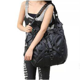 Grandi borse di roccia online-Big Handbag Vintage Gothic Esclusivo Rock Bags Borsa a tracolla in pelle New Fashion Halloween Borse Flap Pocket