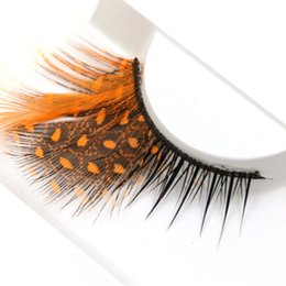Pestañas naranjas online-YOKPN Naranja Dot pestañas falsas exageradas grueso de plumas pestañas postizas Etapa Mostrar herramientas de maquillaje Pestañas del ojo cruzado
