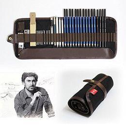 Coltelli professionali online-Tinpa 33 Pezzo matite set professionale un disegno a matita Matita Con matite di grafite, matite carboncino, Taglierino, alimentazione per Artista