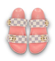Gummiband größe online-Chic Branded Damen Multicolor Lederband Flache Dias Deisgner Lady Canvas Gummisohle Aanti-slip Fußbett Slipper Größe EU35-42