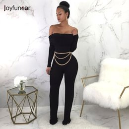 fb0af765c26 Joyfunear New Bodycon Sexy Rompers Womens Jumpsuit Summer Autumn Off  Shoulder Long Sleeve Black Jumpsuits For Women Overalls