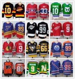 2019 camisa nordiques barato Retro Jerseys 9 Gordie Howe HULL 99 Wayne Gretzky 66 Mario Lemieux ROY Lindros ORR Francis Modano Bure Hockey Jersey