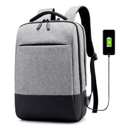 2019 laptops para estudantes universitários Cinza Bagpack Grande Capacidade Mochila Laptop para Homens de Carregamento USB Estudante Mochila À Prova D 'Água Oxford College Bag Voltar 2019 Novo laptops para estudantes universitários barato