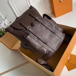 bolsos de mochila de couro Desconto 5A N41379 41 cm Christopher PM Avestruz Mochila De Couro, 2 Bolsos Laterais, Flap Abrindo, Com Saco de Poeira, frete Grátis