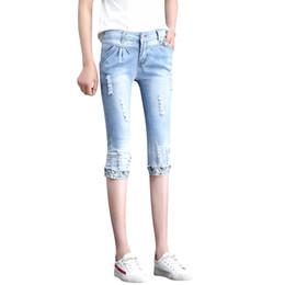 2019 cintura elástica jean capris 2019 elástico elástico cintura alta sexy roto roto capris rasgado Jeans moda mujer pantalones de mezclilla pantalones de mujer femme Cheap 9223 cintura elástica jean capris baratos