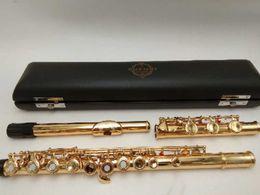 Flauta SUZUKI Intermediate banhado a ouro flauta Professional floral gravada Bocal Designs C Flautas chave 17 buracos buracos abertos de