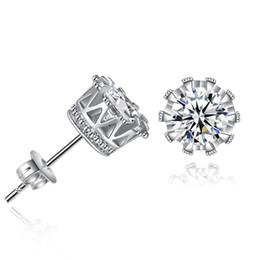 Orelha jóias 925 on-line-925 brincos de prata de cristal natural zircão esterlina pregos de prata de ouro coreano rodada coroa ear unhas jóias para mulheres homens brincos
