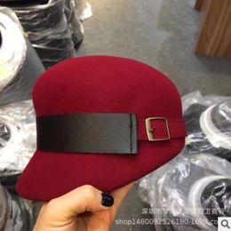 Корейский шерстяной берет онлайн-autumn winter all-matching cap fashion belt ladies wool beret Hot style new Korean version designer caps