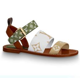 malla de encaje hasta zapato de playa Rebajas Las más nuevas mujeres de marca de lienzo de patente FORMENTERA sandalia diseñador señora hebilla correa de cuero suela plana sandalia de tacón