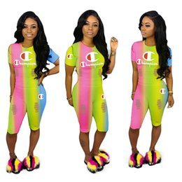tee length Promo Codes - Women Champion Designer Tracksuit Summer Rainbow Gradient Color T-shirt + Shorts 2 Piece Set Tops Tees Brand Outfit Woman Sportswear C52301