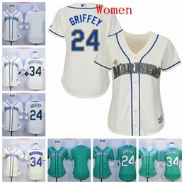 ladies creams Promo Codes - Women's Lady Seattle Ken Griffey Jersey Mariners Felix Hernandez Cream White Green Baseball Jersey Hight Quality