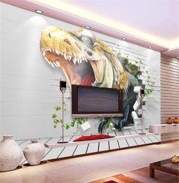 3D dinosaure réaliste cassé mur Art Background Digital impression HD décoratif beau fond d'écran ? partir de fabricateur
