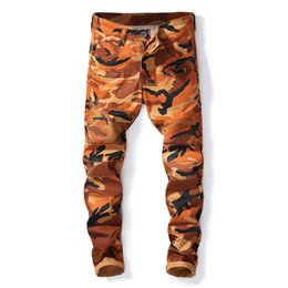 Sportlich Männer Camouflage orange Biker Jeans Hosen