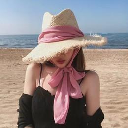 женские пляжные розовые шляпы Скидка Дельфин Женщины Summer Beach Hat Black Pink Coffee Ribbon Bohemia Big джазовых Рафия Hat Burr Vintage Женские шапки Seaside