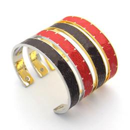 Rote valentine armbänder online-Luxus-Designer-Schmuck Frauen-Armband-Armbänder für Frauen Männer Roten Kaffee Muster Manschette Lieber Armbänder Valentinstaggeschenke Schmuck Großhandel