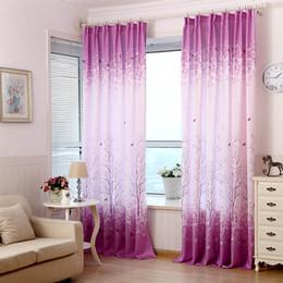 2019 cortinas de quarto roxas Pachira Modern Impresso janela Blackout Cortina florais Sheer Curtains roxo para Home Hotel Sala Quarto Decoração cortinas de quarto roxas barato