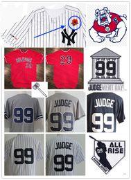 Бейсбольные штаты онлайн-Mens NCAA Бульдоги штата Фресно Аарон Джадж Бейсбол Джерси Сшитый Нью-Йорк, чтобы мы не забыли