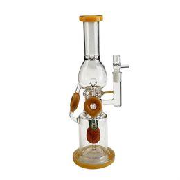 Bong de cristal 42cm online-2019New Glass water Bongs bubbler recycler plataforma petrolera hookah glass bong 42cm hight 18.8mm joint smoking pipe bowl glass bowl