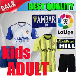 2019 Real Zaragoza homens crianças Gual futebol jerseys 19 20 Real Zaragoza adulto Vazque Soro Eguaras alvaro 2020 azul criança camisas de futebol shorts de