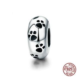 Abdrücke armband perlen online-100% authentische 925-Sterling-Silber Hund Tier Fußabdruck Charms lose Perlen passen Pandora Armband DIY Schmuck 2019 YMSCC594