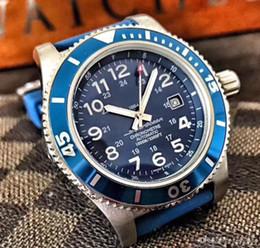 Safira azul oval on-line-De alta qualidade melhor relógio automático movimento 43MM azul face 316L safira aço de alta qualidade autêntico cinta mens watch