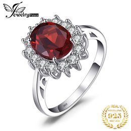 diana rings Promo Codes - ashion Jewelry Rings JewelryPalace Kate Princess Diana 2.5ct Natural Garnet Halo Engagement Ring Genuine Pure 925 Sterling Sliver Jewelry...