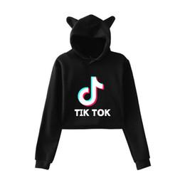 Jerseys recortados online-Kawaii Harajuku Ropa Kpop BTS Tik Tok Software Tendencia de moda Sala Cat Crop Top Sudaderas con capucha Jerseys Mujeres Sudaderas Streetwear
