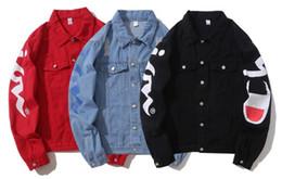 chaqueta estampada vintage Rebajas Primavera y otoño Moda Lavado Destruido vintage Cowboy Famous Biker denim jacket Ripped Mens mujeres Carta Imprimir denim jacket Coat
