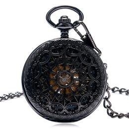 Black Full Steel Hand заводом Механические карманные часы Steampunk Паутина Дело Skeleton Подвеска цепи часы подарков от