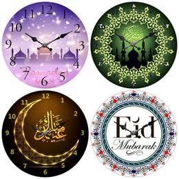 tablero verde de la pared Rebajas Eid Mubarak Ramadán Patrón Reloj de pared Sala de estar Campana Retro Mute Reloj de bolsillo Tablero de densidad exquisito Blanco Verde 12dh C1