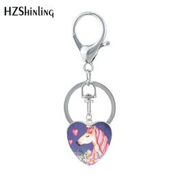 Toptan ucuz takı Yeni Kalp Şeklinde Anahtarlık Hayvan Takı Cam Gümüş Kolye Unicorn Fantezi Anahtarlık Takı nereden