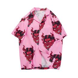Гавайская рубашка Devil Full Printing отложным воротником повседневные рубашки Мужские летние рубашки High Street Harajuku Loose Camisa 083 от Поставщики одежда для взрыва