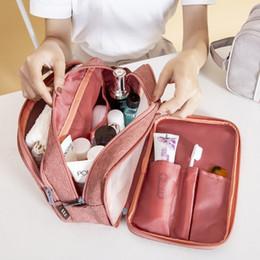 2019 cosméticos saco grosso denim Mulheres portáteis curso de sacos cosméticos Homens de Higiene Pessoal Bolsa Banho de suspensão Organayzer Make Up Wash Bag