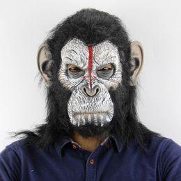mascarillas de gorila Rebajas Terrorista de la máscara de terror accesorios de Halloween Navidad Ambiente de terror animal del mono Máscara del gorila mayor Envío gratuito
