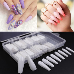 2019 lange volle decknägel 100pcs / gefälschte Nagel Künstliche Lange Ballerina Lösch- / Natural / weiß Falsch Coffin Nails Art Tips Full Cover Maniküre + Jewelry Box Box günstig lange volle decknägel