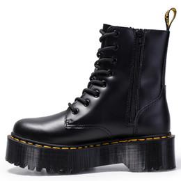 Cordones de zapatos gruesos online-Tacón grueso Mujer martin boots botines botas de cuero genuino suela muscular de vaca cordones botas de tacón grueso para damas zy8472