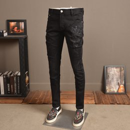 peacock flying Coupons - Jeans Peacock Embroidery Distressed Black Denim Men Fashion Stretch Straight Slim Fit Jean