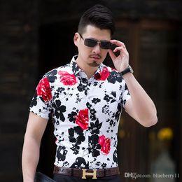chemises à col haut ajustées pour hommes Promotion Haute qualité Mens Casual Shirt 2018 Nouveau Turn Down Chemise à col social Hommes Slim Fit manches courtes affaires Floral Shirt Homme M-7XL