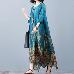 Fata di seta online-Vestito di marca da donna primavera estate media lunghezza in seta con stampa cardigan Vest Top + vestito versatile elegante abito da fata