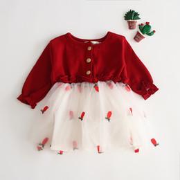 Fiori rossi coreani online-2019 disegni di gonna per abito da festa per bambina carina coreana J motivo floreale rosso