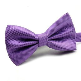 gold bowties Promo Codes - purple gold Bow Tie bowtie for Women Men Wedding party solid bow ties mens bowties fashion accessories wholesale 24 colors new free shipping
