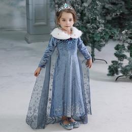 Bebés Meninas Vestido de Inverno Crianças congelados princesa Vestidos Crianças partido do traje do Dia das Bruxas Roupa Cosplay com o pacote por DHL de