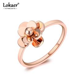 titan rosen schmuck Rabatt Lokaer Original Design Liebe Rosen Verlobungsringe Schmuck Für Frauen Chic Rose Gold Titan Edelstahl Braut Ring R19097